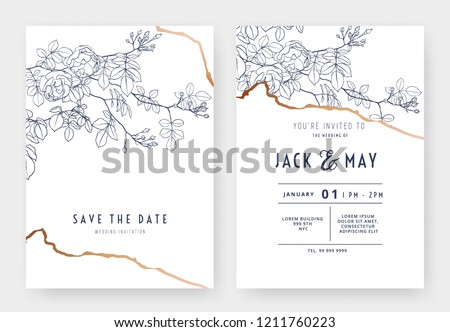 Botanical wedding invitation card template design, climbing rose line art ink drawing on white
