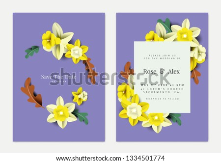 Botanical wedding invitation card template design, colorful daffodil flowers and leaves paper art on purple
