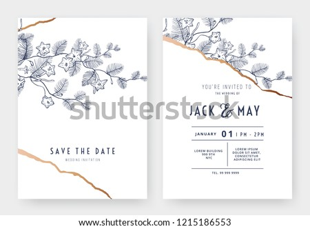 Botanical wedding invitation card template design, cypressvine morning glory line art ink drawing on white