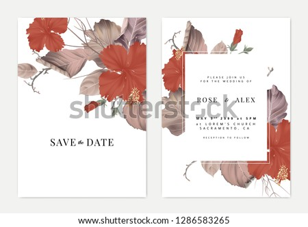 Botanical wedding invitation card template design, hibiscus flowers with dried leaves and branches on white
