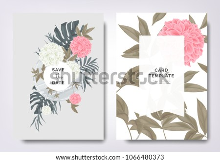 Botanical wedding invitation card template design, pink and white dahlia flowers and leaves on green frame, vintage style