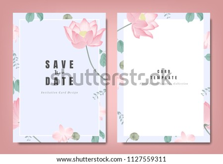Botanical wedding invitation card template design, pink lotus flowers and leaves on light blue background, minimalist vintage style