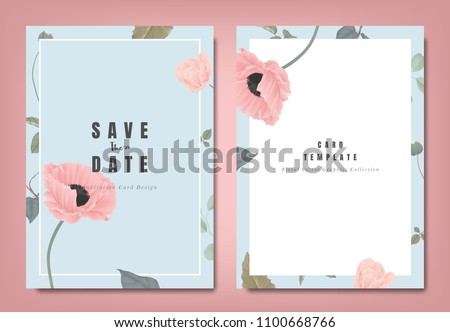stock-vector-botanical-wedding-invitation-card-template-design-pink-poppy-flowers-and-leaves-on-blue-background