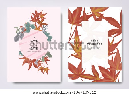 Wedding invitation with japanese style download free vector art botanical wedding invitation card template design red japanese maple leaves and other leaves with pink stopboris Image collections