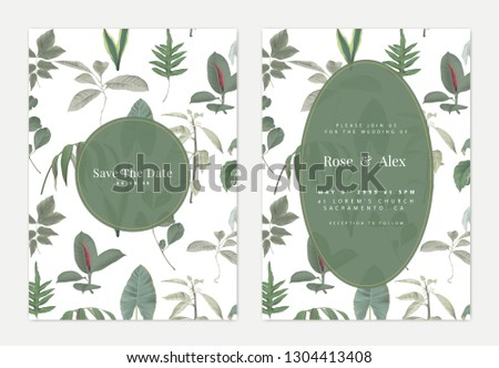 Botanical wedding invitation card template design, various green leaves pattern on white with green circle frame