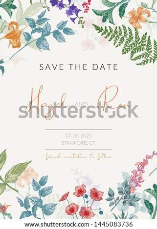 Botanical wedding invitation template with hand drawn herbs and flowers. Colored Save the Date card template in vitnage style