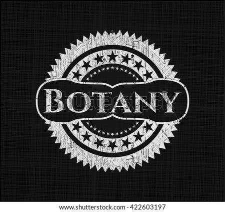 Botany chalkboard emblem on black board