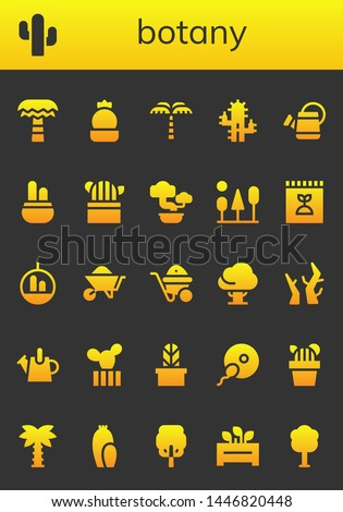 botany icon set. 26 filled botany icons.  Collection Of - Palm tree, Cactus, Watering can, Bonsai, Trees, Fertilizer, Wheelbarrow, Tree, Branches, Fertilization, Flowerpot