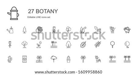botany icons set. Collection of botany with birch, palm tree, cactus, tree, fertilizer, branch, oak leaf, sprout, rose, trees, wheelbarrow. Editable and scalable botany icons.
