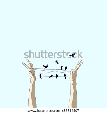 Both hands play a spider-like pattern. There are birds on the rope between the two. Open the world by opening new creative ideas
