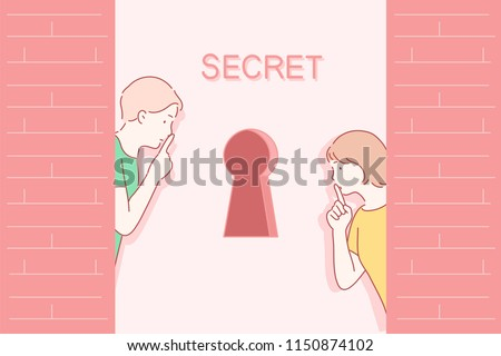 Both men and women are putting their fingers on their lips in front of the keyhole and doing a 'shh' finger gesture. hand drawn style vector design illustrations.