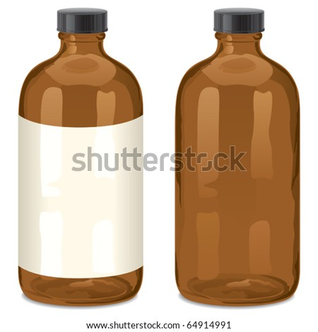 Bottle: A vector bottle of the type Boston Round. Usually used for drugs.You can place your own text in the label, or use the bottle without label. No transparency used. Basic (linear) gradients used.