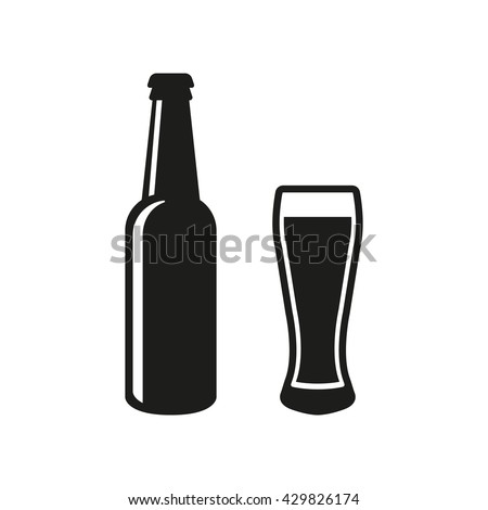bottle and glass of beer icon
