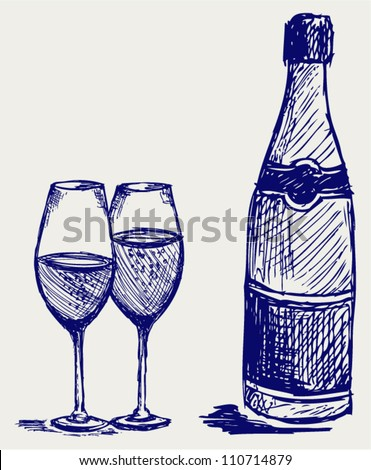 Bottle and glass of champagne. Doodle style