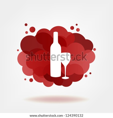 Bottle and glass of red wine with transparent clouds. Vector version.