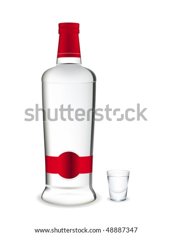 Bottle and glass of vodka. Vector illustration.