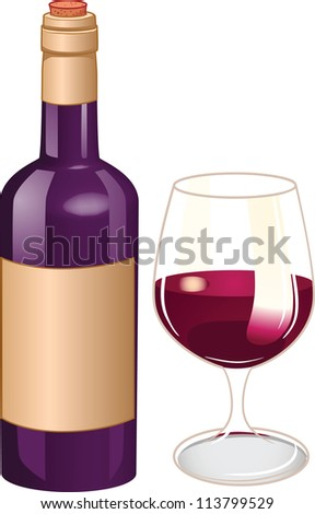 Bottle and glass of wine. Vector illustration with simple gradients. Each in a separate layer for easy editing.