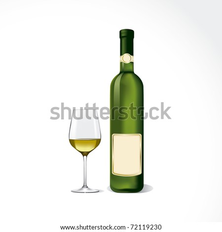 Bottle and glass with white wine.