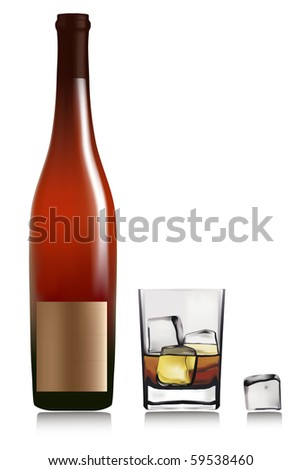 Bottle and lass with whiskey and ice cubes. Vector.