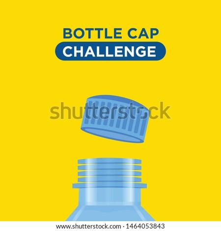 Bottle cap challenge. Bottle cap text for your t-shirt design.  Vector. Yellow background