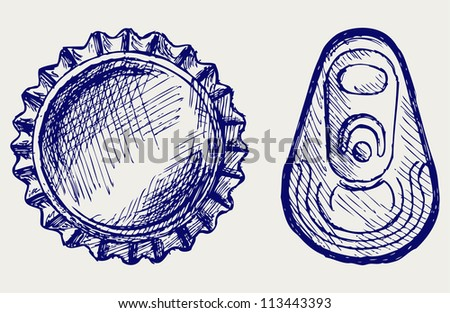 Bottle cap. Doodle style - stock vector