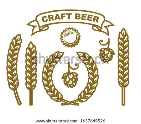 Bottle cap, hop cone, ears of wheat, wreath made of barley ears, ribbon banner with text Craft Beer. Set of design elements for beer prodaction, brewery, pub or bar decoration. Vector illustration.