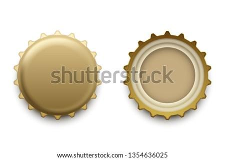 Bottle cap in different views, vector illustration on plain background