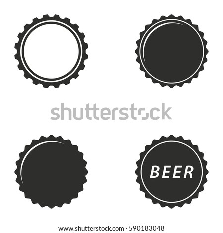 Bottle cap vector icons set. Black illustration isolated for graphic and web design.
