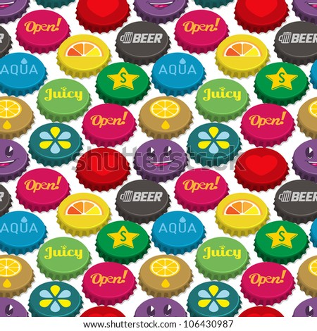 Bottle caps seamless background pattern. Vector illustration.