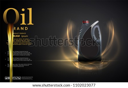 Bottle engine oil on a background a motor-car piston, Technical illustrations. Realistic 3D vector image. canister ads template with brand logo Blueprints.