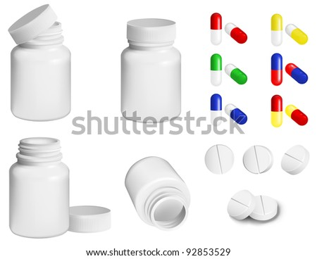 Bottle for medicines and set of various pills and tablets - stock vector