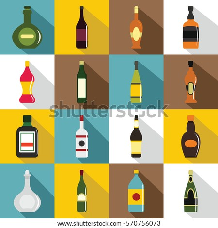 bottle forms icons set flat