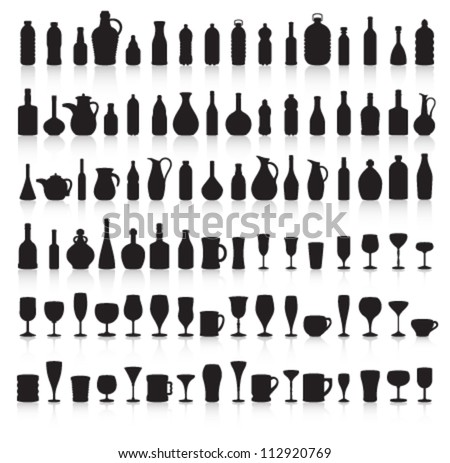 Bottle, Glass and Jug Silhouettes with Reflection Vector