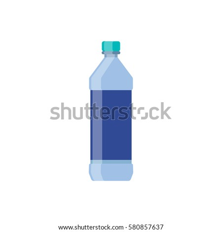 Bottle glass water flat UI design for app game. Vector illustration