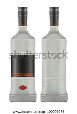 bottle iced of vodka isolated on white background vector