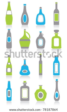 Bottle icons - stock vector
