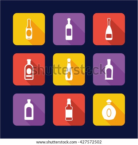 bottle icons flat design