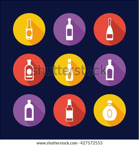 bottle icons flat design circle