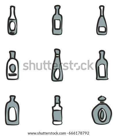 bottle icons freehand 2 color