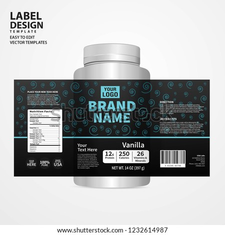 Bottle label, Package template design, Label design, mock up design label template #1232614987