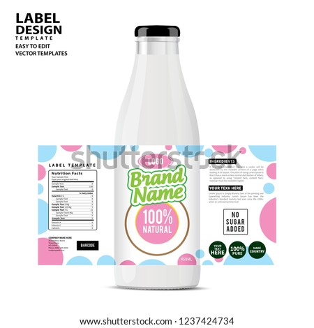 Bottle label, Package template design, Label design, mock up design label template