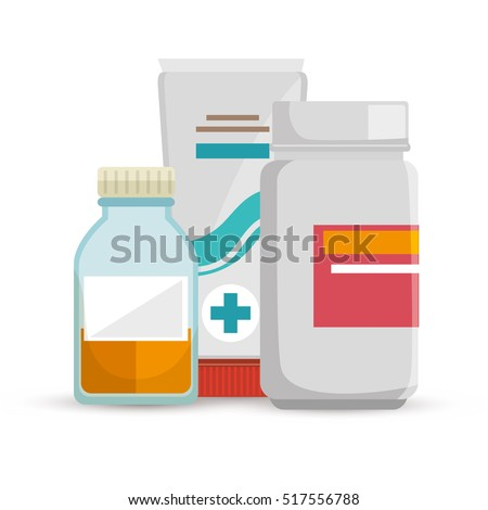 bottle medicine container cream care icons
