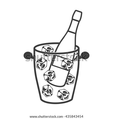 Bottle of champagne in an ice bucket icon. Bottle of champagne in an ice bucket Vector isolated on white background. Flat vector illustration in black. EPS 10