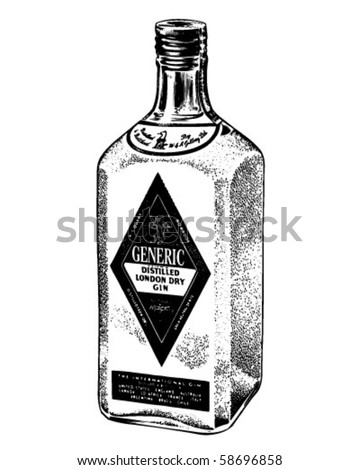 bottle of distilled gin   retro