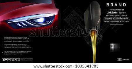 Bottle of engine oil. Oil flows.Vector