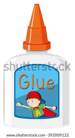 Bottle of glue with orange cap illustration ストックフォト ©