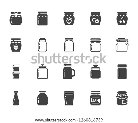 Bottle of jam flat glyph icons. Glass packaging for fruit confiture, raspberry strawberry jelly container vector illustrations. Signs for sweet food store. Solid silhouette pixel perfect 64x64.
