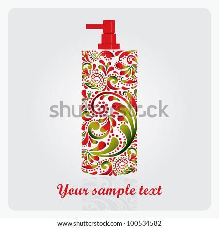 Bottle of lotion, made of the leaf pattern. Vector EPS10 illustration.