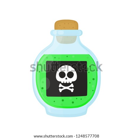 Bottle of magic acid green toxic poison with skull. Vector flat cartoon illustration icon design. Isolated on white background. Poison bottle concept