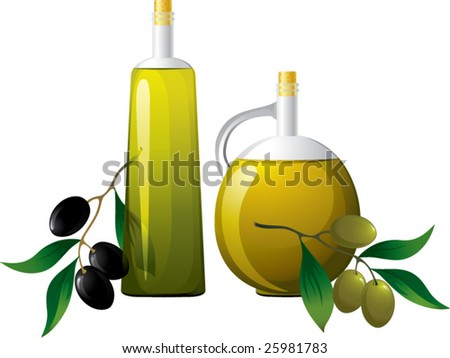 Bottle of oil and branch of olive